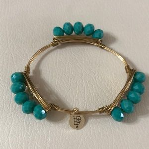 Bourbon and Bowties gold and turquoise bracelet